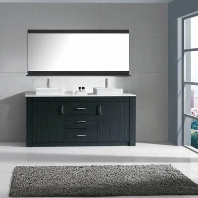 Glen Ridge 60 Double Bathroom Vanity Set with Snow White and Mirror Base Finish: Gray