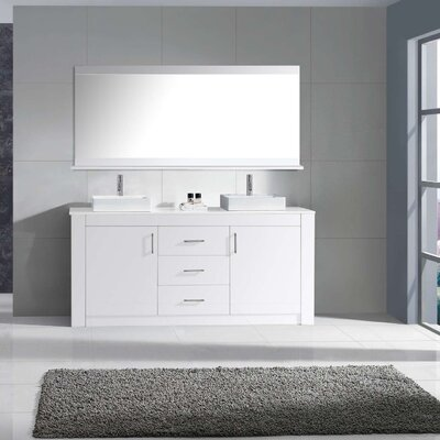 Glen Ridge 60 Double Bathroom Vanity Set with Snow White and Mirror Base Finish: White
