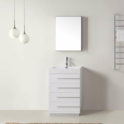 Copher 23 Single Bathroom Vanity Set with White Top and Mirror Base Finish: Plum, Faucet Finish: Brushed Nickel
