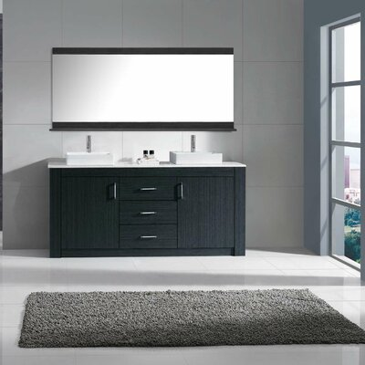 Glen Ridge 72 Double Bathroom Vanity Set with White Top and Mirror Base Finish: Gray