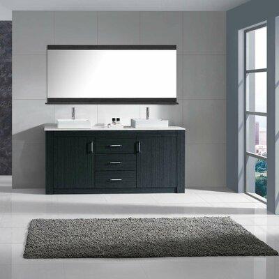 Glen Ridge 72 Double Bathroom Vanity Set with Snow White and Mirror