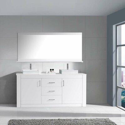 Glen Ridge 72 Double Bathroom Vanity Set with White Top and Mirror Base Finish: White