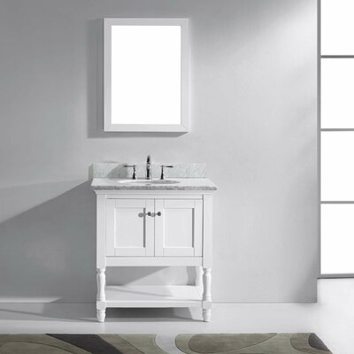 Julianna 31 Single Bathroom Vanity Set with White Marble Top and Mirror Base Finish: Gray, Sink Shape: Round, Faucet Finish: Brushed Nickel