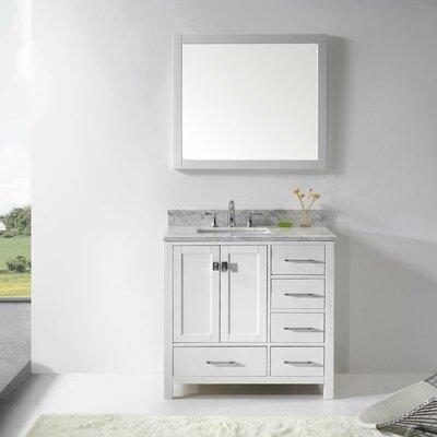Caroline Avenue 37 Single Bathroom Vanity Set with Mirror Base Finish: White