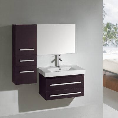Antonio 29 Single Bathroom Vanity Set with Ceramic Top and Mirror Base Finish: Espresso
