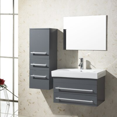 Antonio 29 Single Bathroom Vanity Set with Ceramic Top and Mirror Base Finish: Gray