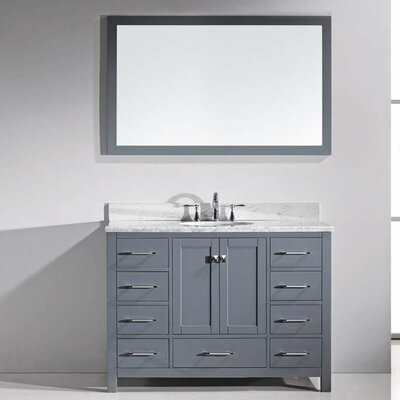 Stoneham 48 Single Bathroom Vanity Set with Carrara White Top and Mirror Base Finish: Gray, Sink Shape: Round, Faucet Finish: Polished Chrome