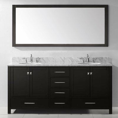 Serigne 72.8 Double Bathroom Vanity Set with Carrara White Top and Mirror Base Finish: Gray, Sink Shape: Round, Faucet Finish: No Faucet