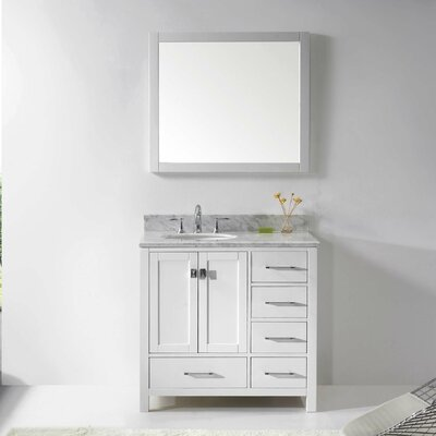Caroline Avenue 37 Single Bathroom Vanity Set with Mirror Base Finish: White