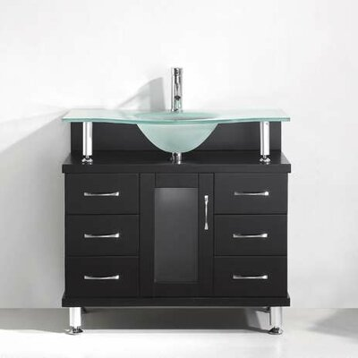 Runge 36 Single Bathroom Vanity Set with Frosted Tempered Glass Top Base Finish: Espresso