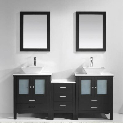 Brentford 72 Double Bathroom Vanity Set with White Stone Top and Mirror