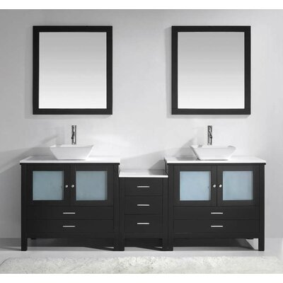 Brentford 89 Double Bathroom Vanity Set with White Stone Top and Mirror