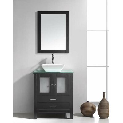 Brentford 28 Single Bathroom Vanity Set with Tempered Glass Top and Mirror