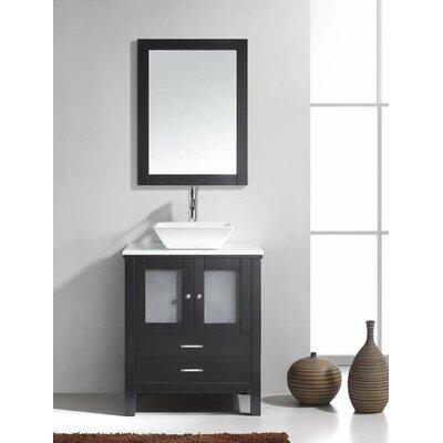 Brentford 28 Single Bathroom Vanity Set with White Stone Top and Mirror