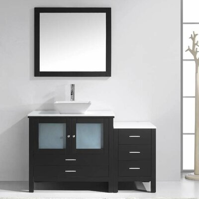 Brentford 54 Single Bathroom Vanity Set with White Stone Top and Mirror