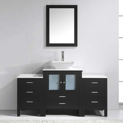 Brentford 63 Single Bathroom Vanity Set with White Stone Top and Mirror Faucet Finish: Polished Chrome