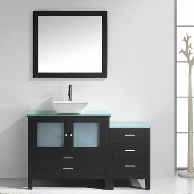 Brentford 54 Single Bathroom Vanity Set with Tempered Glass Top and Mirror Faucet Finish: Polished Chrome