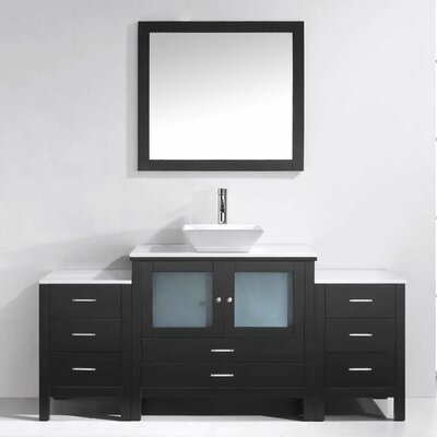 Brentford 71 Single Bathroom Vanity Set with White Stone Top and Mirror Faucet Finish: Polished Chrome