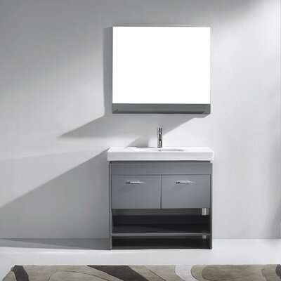 Frausto 35 Single Bathroom Vanity Set with Ceramic Top and Mirror Base Finish: Gray