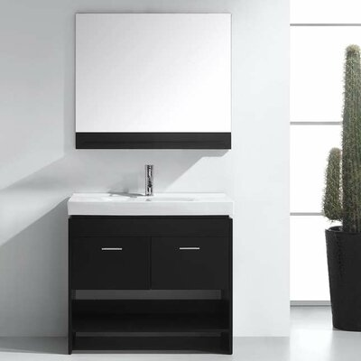 Frausto 35 Single Bathroom Vanity Set with Ceramic Top and Mirror Base Finish: Espresso