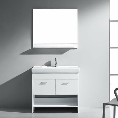 Frausto 35 Single Bathroom Vanity Set with Ceramic Top and Mirror Base Finish: White