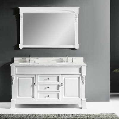 Huntshire 59 Double Bathroom Vanity Set with Mirror Base Finish: White, Sink Shape: Round, Faucet Finish: No Faucet