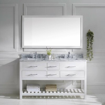 Rishaan Modern 61 Double Bathroom Vanity Set with Mirror Base Finish: White, Sink Shape: Round