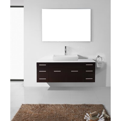 Ultra Modern Series 56 Single Bathroom Vanity Set with White Stone Top and Mirror Base Finish: Espresso