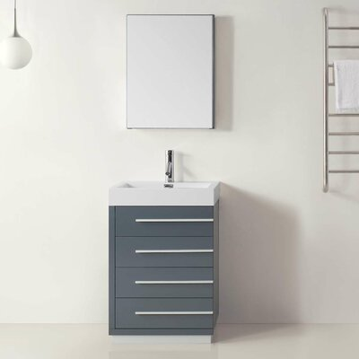 Copher 23 Single Bathroom Vanity Set with White Top and Mirror Base Finish: Gray, Faucet Finish: Polished Chrome
