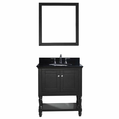 Julianna 32 Single Bathroom Vanity Set with Black Galaxy Granite Top and Mirror Base Finish: Espresso, Faucet Finish: Brushed Nickel