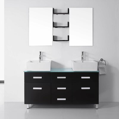 Ultra Modern Series 56 Double Bathroom Vanity Set with Tempered Glass Top and Mirror Base Finish: White, Faucet Finish: Brushed Nickel