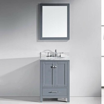 Serigne 25 Single Bathroom Vanity Set with Mirror Base Finish: Gray, Sink Shape: Round, Faucet Finish: No Faucet