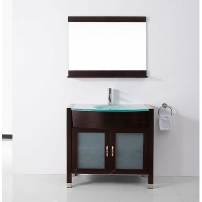 Ultra Modern Series 36 Single Bathroom Vanity Set with Tempered Glass Top and Mirror