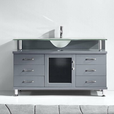 Runion 55 Single Bathroom Vanity Set with Frosted Tempered Glass Top Base Finish: Gray