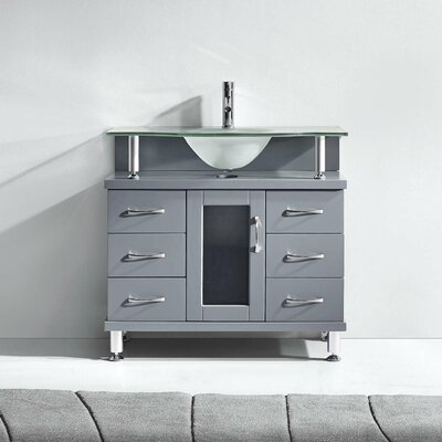 Runge 36 Single Bathroom Vanity Set with Frosted Tempered Glass Top Base Finish: Gray