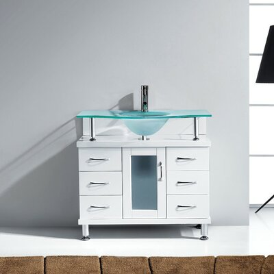 Vincente Series 36 Single Bathroom Vanity Set with Frosted Tempered Glass Top Base Finish: White