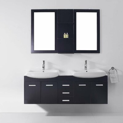 Ultra Modern Series 59 Double Bathroom Vanity Set with White Stone Top and Mirror Base Finish: Espresso, Faucet Finish: Brushed Nickel