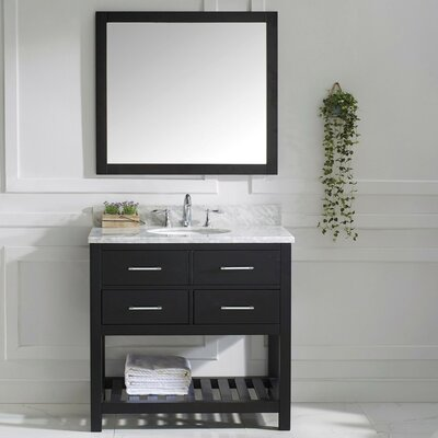 Rishaan 37 Single Bathroom Vanity Set with White Marble Top and Mirror Base Finish: White, Sink Shape: Round, Faucet Finish: No Faucet