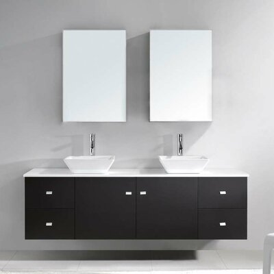 Clarissa 72 Double Bathroom Vanity Set with White Stone Top and Mirror Base Finish: Honey Oak, Faucet Finish: Polished Chrome