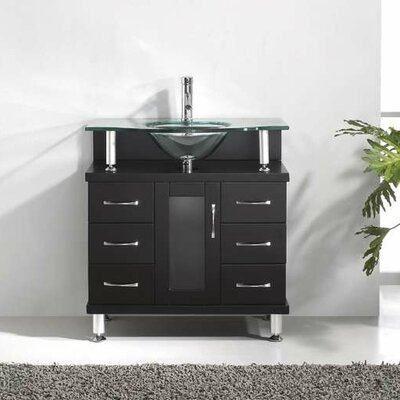 Runge 32 Single Bathroom Vanity Set with Tempered Glass Top Base Finish: Espresso