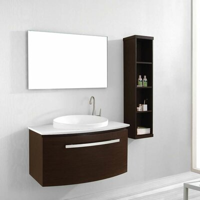 Anabelle 39 Single Bathroom Vanity Set with Quartzite Stone Top and Mirror Base Finish: Walnut