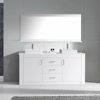 Glen Ridge 72 Double Bathroom Vanity Set with Snow White and Mirror