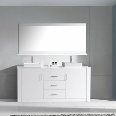 Glen Ridge 60 Double Bathroom Vanity Set with White Top and Mirror Base Finish: White