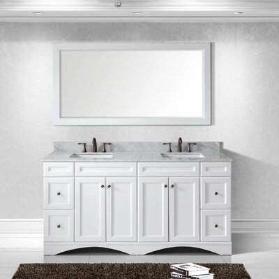 Girardeau 72 Double Bathroom Vanity Set with Mirror Base Finish: White, Sink Shape: Square