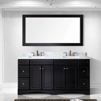 Rosado 72 Double Bathroom Vanity Set with Mirror Base Finish: Espresso, Sink Shape: Square