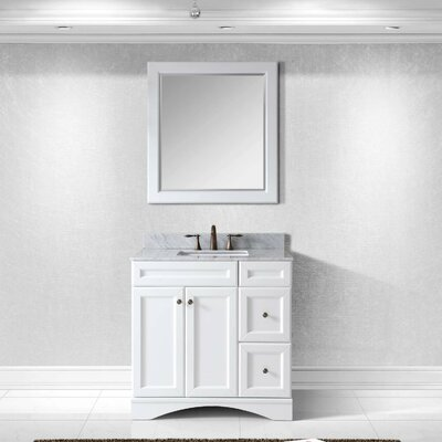 Rosado 36 Single Bathroom Vanity Set with Mirror Base Finish: White