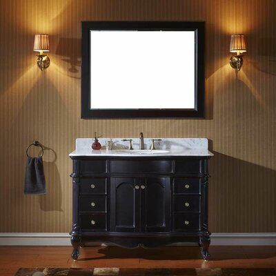 Norhaven 48 Single Bathroom Vanity Set with Mirror Base Finish: Gray, Sink Shape: Round