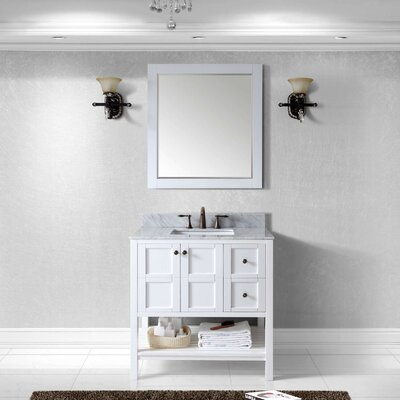 Winterfell 36 Single Bathroom Vanity Set with Mirror Base Finish: White