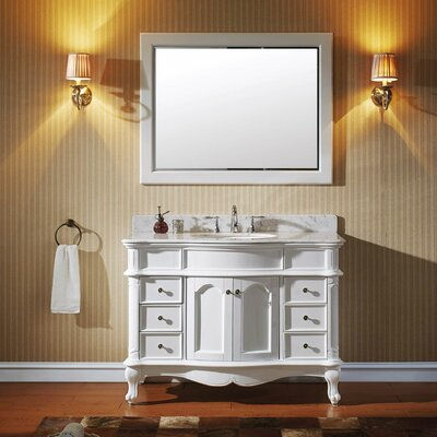 Norhaven 48 Single Bathroom Vanity Set with Mirror Base Finish: White, Sink Shape: Round