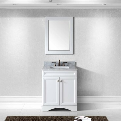Rosado 30 Single Bathroom Vanity Set with Mirror Base Finish: White
